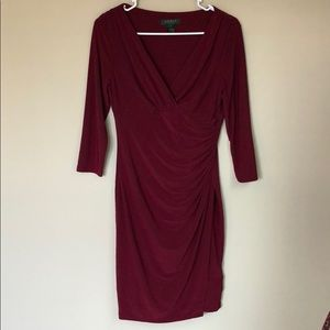 Lauren Ralph Lauren Maroon Wrap-Style Work Dress